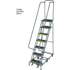 """10 Step 24"""" W Grip All Directional Steel Rolling Ladder- Safety Angle"""