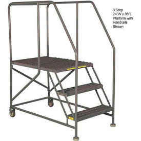 "Mobile 3 Step Steel 24""W X 36""L Work Platform Ladder With Handrails"