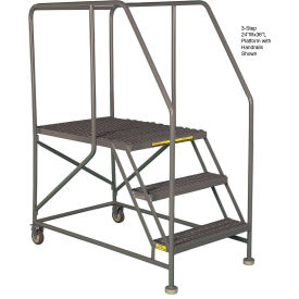 "Mobile 3 Step Steel 24""W X 48""L Work Platform Ladder With Handrails"