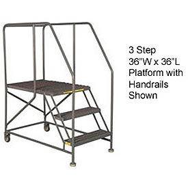 "Mobile 3 Step Steel 36""W X 36""L Work Platform Ladder With Handrails"