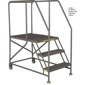 "Mobile 4 Step Steel 36""W X 36""L Work Platform Ladder With Handrails"