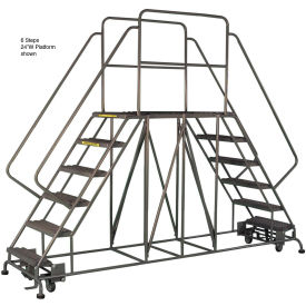 """6 Step Steel Double Entry Mobile Platform - 60""""L x 24""""W - WLDS162457"""