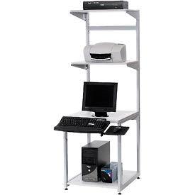 "24"" Computer LAN Workstation, 24""W x 30""D x 74""H, Gray, Unassembled"