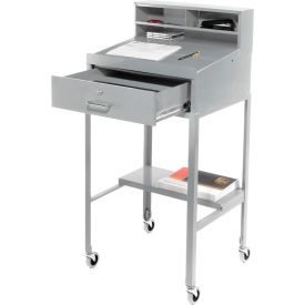 Open Leg Mobile Shop Desk - Gray