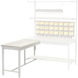"48""W x 24""D Euro Style Production Workbench Return - Plastic Laminate Square Edge - Gray"