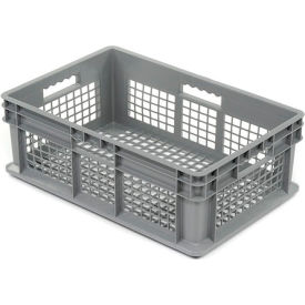 """Akro-Mils Straight Wall Container 37608 Mesh Sides & Base 23-3/4""""L x 15-3/4""""W x 8-1/4""""H, Gray - Pkg Qty 4"""
