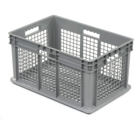 """Akro-Mils Straight Wall Container 37612 Mesh Sides & Base 23-3/4""""L x 15-3/4""""W x 12-1/4""""H, Gray - Pkg Qty 3"""