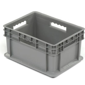 "Akro-Mils Straight Wall Container 37288 Solid Sides & Base 15-3/4""L x 11-3/4""W x 8-1/4""H, Gray - Pkg Qty 12"