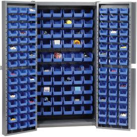 """Bin Cabinet Deep Door with 156 Blue Bins, 16-Gauge Assembled Cabinet 38""""W x 24""""D x 72""""H, Gray"""