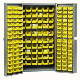 "Bin Cabinet Deep Door with 156 Yellow Bins, 16-Gauge Assembled Cabinet 38""W x 24""D x 72""H, Gray"