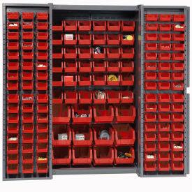 "Bin Cabinet Deep Door with 144 Red Bins, 16-Gauge Assembled Cabinet 38""W x 24""D x 72""H, Gray"