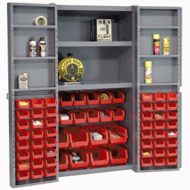 "Bin Cabinet Deep Door with 68 Red Bins, Shelves, 16-Gauge Assembled Cabinet 38""W x 24""D x 72""H, Gray"