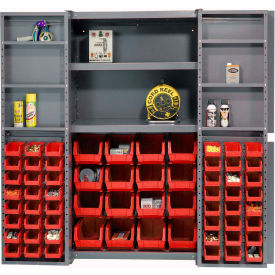 "Bin Cabinet Deep Door with 64 Red Bins, Shelves, 16-Gauge Assembled Cabinet 38""W x 24""D x 72""H, Gray"