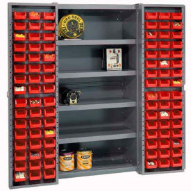 """Bin Cabinet Deep Door w/ 96 Red Bins, Shelves, 16-Gauge Unassembled Cabinet 38""""W x 24""""D x 72""""H, Gray"""