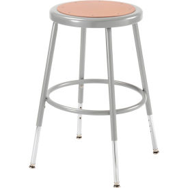 Interion™ Steel Shop Stool w/Round Hardwood 18=-27= Height Adjustable Seat - Pkg Qty 2