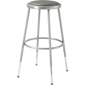"""Shop Stool with Padded Seat - Adjustable Height 24"""" - 32"""" - Gray - Pack of 2"""