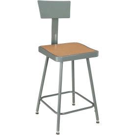 Interion™ Steel Shop Stool w/Back Rest & Manual Hgt. Adj./24= - 33= - Pkg Qty 2