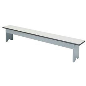 "Locker Bench Plastic Laminate Top w/Steel Pedestals, Free Standing, 96""W x 12""W x 18""H"