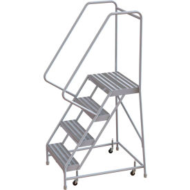 "4 Step Aluminum Rolling Ladder, 16""W Ribbed Step, 30"" Handrails"