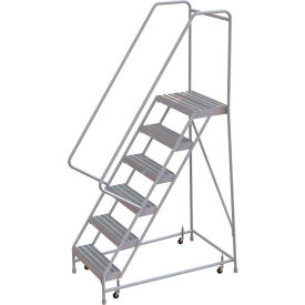"6 Step Aluminum Rolling Ladder, 16""W Ribbed Step, 30"" Handrails"