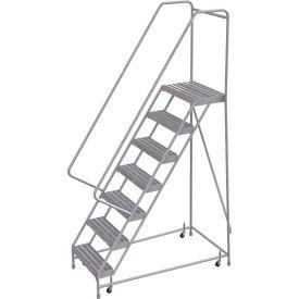 "7 Step Aluminum Rolling Ladder, 16""W Ribbed Step, 30"" Handrails"