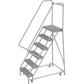 "6 Step Aluminum Rolling Ladder, 16""W Grip Step, 30"" Handrails"