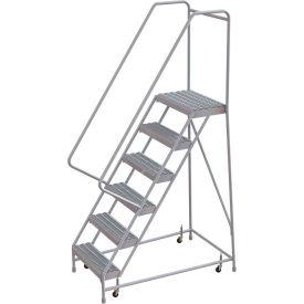 "6 Step Aluminum Rolling Ladder, 16""W Grip Step, 30"" Handrails"