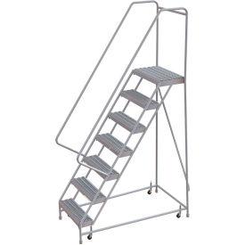 "7 Step Aluminum Rolling Ladder, 16""W Grip Step, 30"" Handrails"