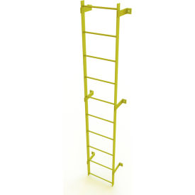 10 Step Steel Standard Uncaged Fixed Access Ladder, Yellow - WLFS0110-Y