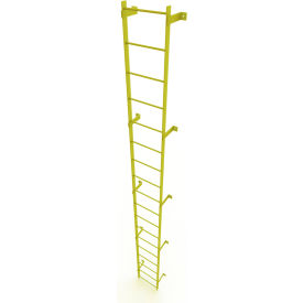 18 Step Steel Standard Uncaged Fixed Access Ladder, Yellow - WLFS0118-Y