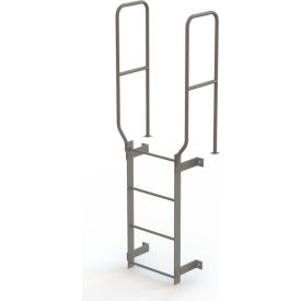 4 Step Steel Walk Through With Handrails Fixed Access Ladder, Gray - WLFS0204