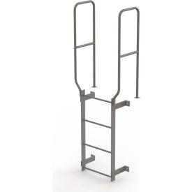 4 Step Steel Walk Through With Handrails Fixed Access Ladder, Gray - WLFS0204