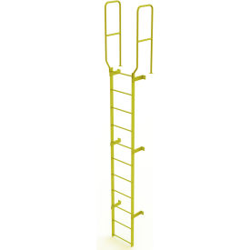 11 Step Steel Walk Through With Handrails Fixed Access Ladder, Yellow - WLFS0211-Y