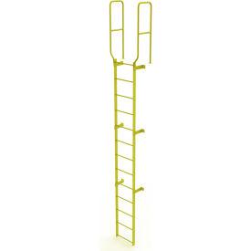 13 Step Steel Walk Through With Handrails Fixed Access Ladder, Yellow - WLFS0213-Y