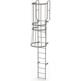 12 Step Steel Caged Walk Through Fixed Access Ladder, Gray - WLFC1212
