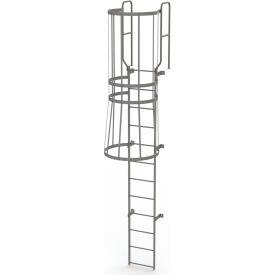 12 Step Steel Caged Walk Through Fixed Access Ladder, Gray - WLFC1212