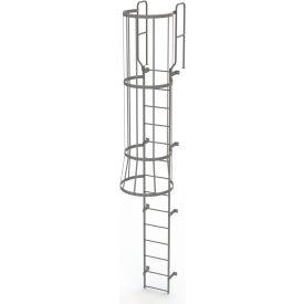 14 Step Steel Caged Walk Through Fixed Access Ladder, Gray - WLFC1214