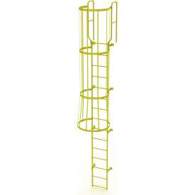 15 Step Steel Caged Walk Through Fixed Access Ladder, Yellow - WLFC1215-Y