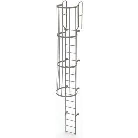 16 Step Steel Caged Walk Through Fixed Access Ladder, Gray - WLFC1216