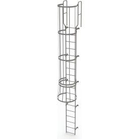 18 Step Steel Caged Walk Through Fixed Access Ladder, Gray - WLFC1218