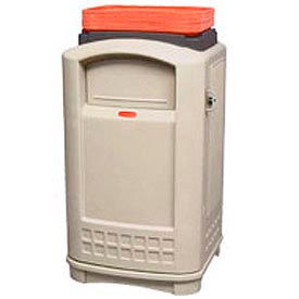 Rubbermaid Plaza Waste Receptacle With Swing Lid Tray Top - Beige