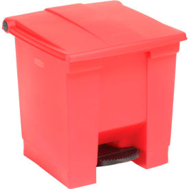 8 Gallon Rubbermaid Plastic Step On Trash Can - Red