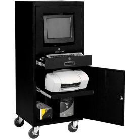Mobile Security Computer Cabinet - Black