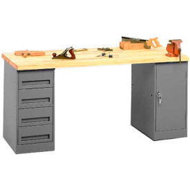 Pedestal Workbench 4-Drawer And Cabinet Pedestal