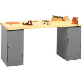 Pedestal Workbench With Two Cabinet Pedestals