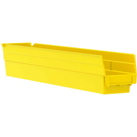 "Akro-Mils Plastic Shelf Bin Nestable 30124 - 4-1/8""D x 23-5/8""D x 4""H Yellow - Pkg Qty 12"