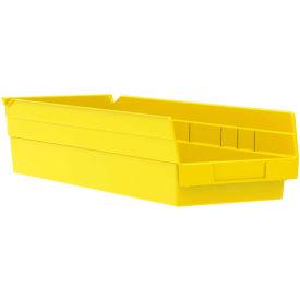"Akro-Mils Plastic Shelf Bin Nestable 30138 - 6-5/8""W x 17-7/8""D x 4""H Yellow - Pkg Qty 12"