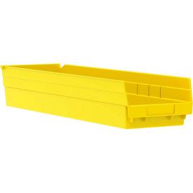 "Akro-Mils Plastic Shelf Bin Nestable 30164 - 6-5/8""W x 23-5/8""D x 4""H Yellow - Pkg Qty 6"