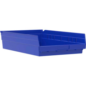 "Akro-Mils Plastic Shelf Bin Nestable 30178 - 11-1/8""W x 17-5/8""D x 4""H Blue - Pkg Qty 12"