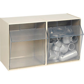 Quantum Tilt Out Storage Bin QTB302- 2 Compartments Ivory